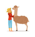 farmer woman caring for her alpaca farming and vector image vector image