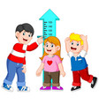 father measuring his child height vector image