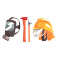 firefighting equipment set fireman mask helmet vector image