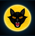 halloween growl black cat head and moon vector image