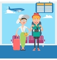 Happy Couple Waiting to Departure in Airport vector image vector image