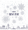 happy new year card with houses in city vector image