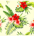 hibiscus and palm leaves tropical seamless vector image vector image