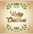 merry christmas card greeting invitation golden vector image vector image
