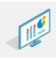 monitor with charts isometric icon vector image vector image