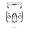 motor rickshaw transport tricycle outline vector image
