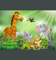 nature scene with animals cartoon vector image vector image