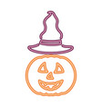 neon light pumpkin with hat halloween vector image