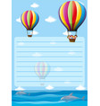 paper template with balloons in the sky vector image vector image