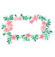 pink flower and ivy leaf rectangle frame vector image vector image