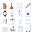 plumbing equipment and tools icons vector image vector image