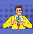 pop art man heart hand sign vector image