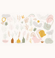 set hand drawn shapes and linear botanical vector image vector image