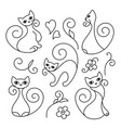 set of cute cartoon cats curls lines vector image