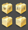 set of realistic 3d collection of colorful gold vector image