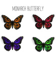 Set of realistic monarch butterflies in different vector image