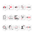set stages development app seo and smm vector image