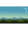 Silhouette of hill and mountain landscape vector image vector image