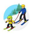 ski practice cartoon vector image vector image
