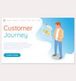 ustomer journey website template man reads vector image