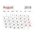 2018 funny original grid august creative calendar vector image vector image