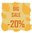 a discount of twenty percent surrounded by autumn vector image vector image