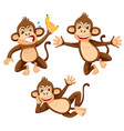 a set of monkey on white background vector image vector image