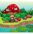 An ant near the red mushroom house vector image vector image
