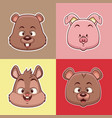 animals heads cartoons vector image vector image
