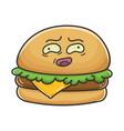 awkward cheese burger cartoon vector image vector image