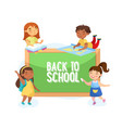 back to school concept children with studying vector image