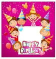 Birthday background with happy children vector image vector image