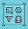black and red abstract love word frame emblem vector image vector image