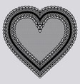 black lace tenderness heart embroidery chic doily vector image