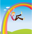 Boy on the rainbow vector image vector image
