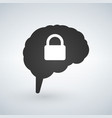 brain lock brain security logo design isolated on vector image vector image
