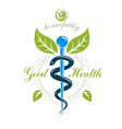 caduceus conceptual emblem created with snakes vector image vector image