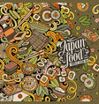 cartoon color hand-drawn doodles japan food frame vector image vector image