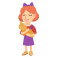 caucasian happy girl holding a cat vector image