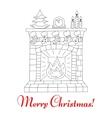 Christmas fireplace and socks vector image vector image