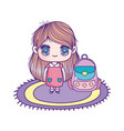 cute little girl cartoon with school bag in carpet vector image