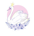 cute lovely princess swan vector image vector image