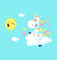 cute unicorn sitting on a cloud and smiling sun vector image vector image