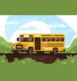empty school bus on trip excursion vector image vector image