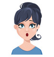 facial expression of a woman - surprised vector image vector image
