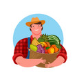 farmer holding a basket fresh fruit natural vector image
