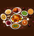 food of thanksgiving dinner vector image