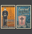 funeral or burial service retro posters vector image