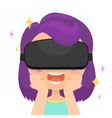 Girl in a virtual reality glasses Wondering vector image vector image