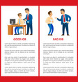 good and bad job chief executive at work set vector image
